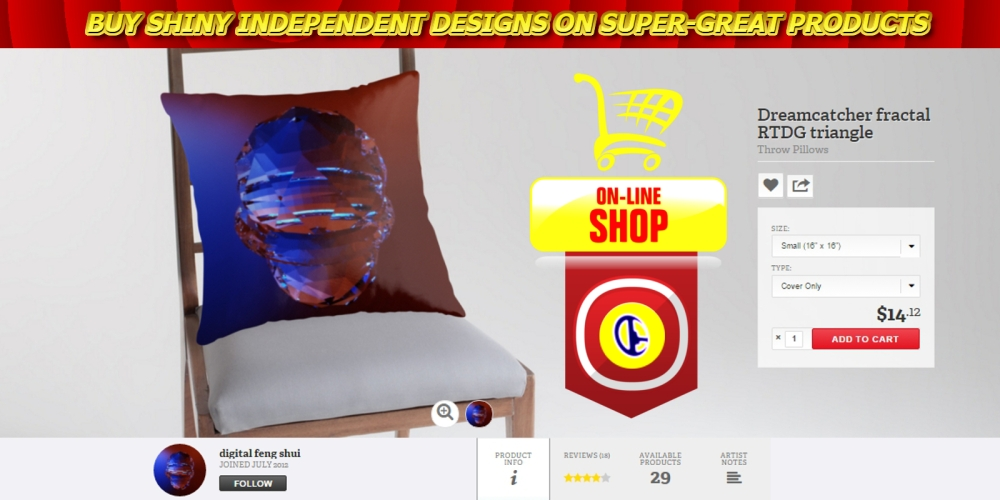 shoponline, fractal triangle, pillow, rtdg triangle