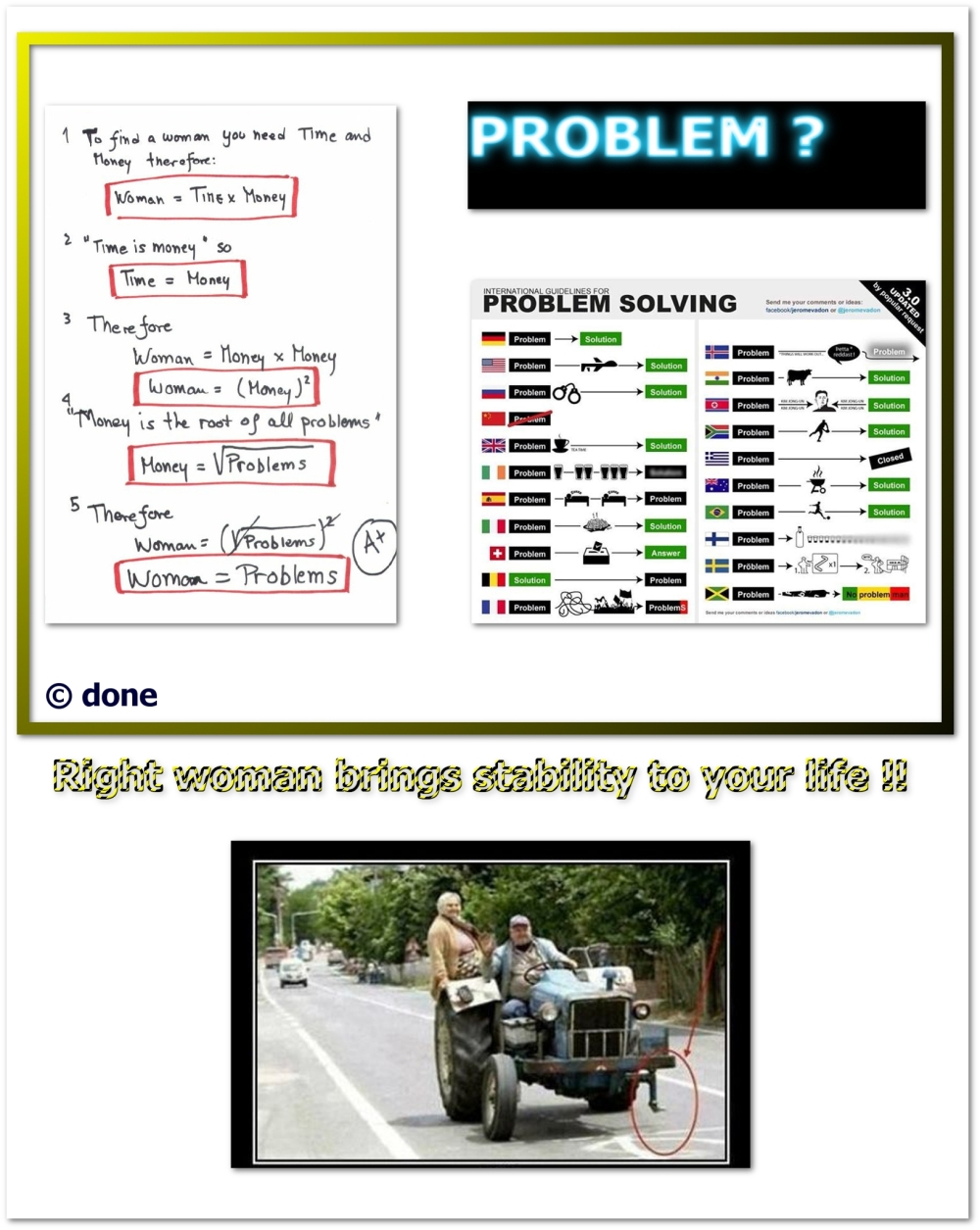 problem solving, right woman, time, money